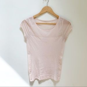 express blush blouse with sheer detailing S